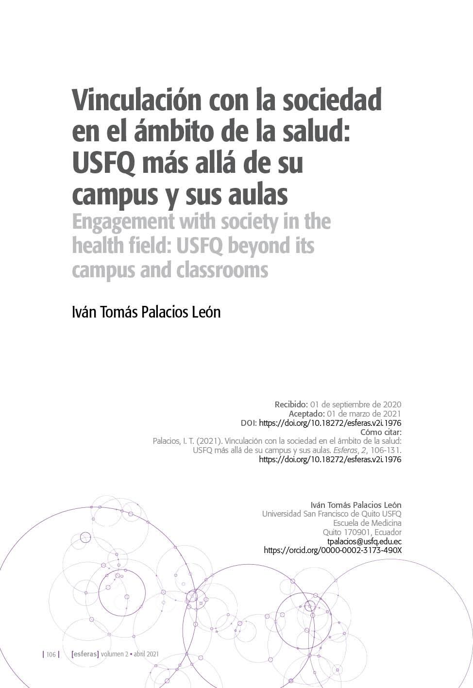 Vinculación con la sociedad en el ámbito de la salud: USFQ más allá de su campus y sus aulas