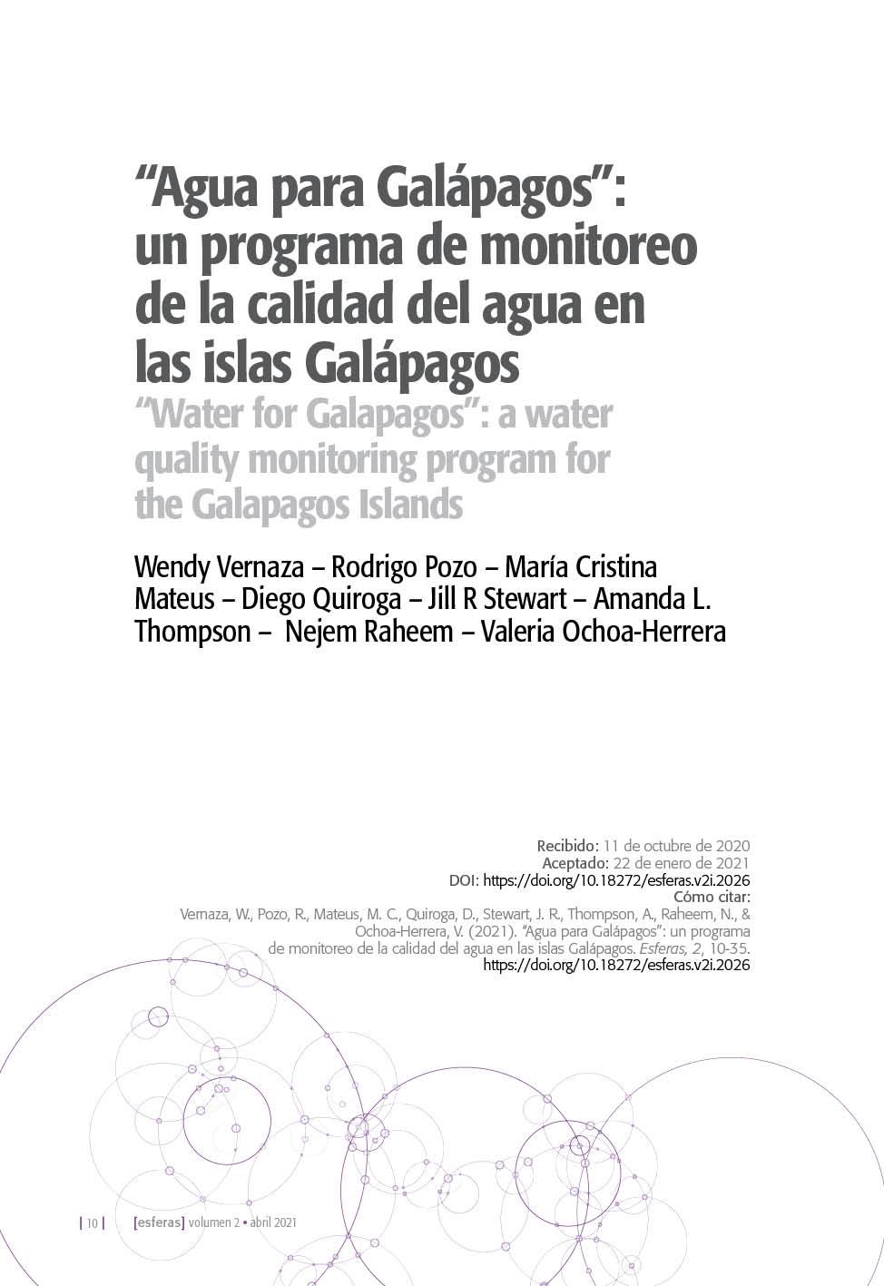 """""""Agua para Galápagos"""": un programa de monitoreo de la calidad del agua en las islas Galápagos"""